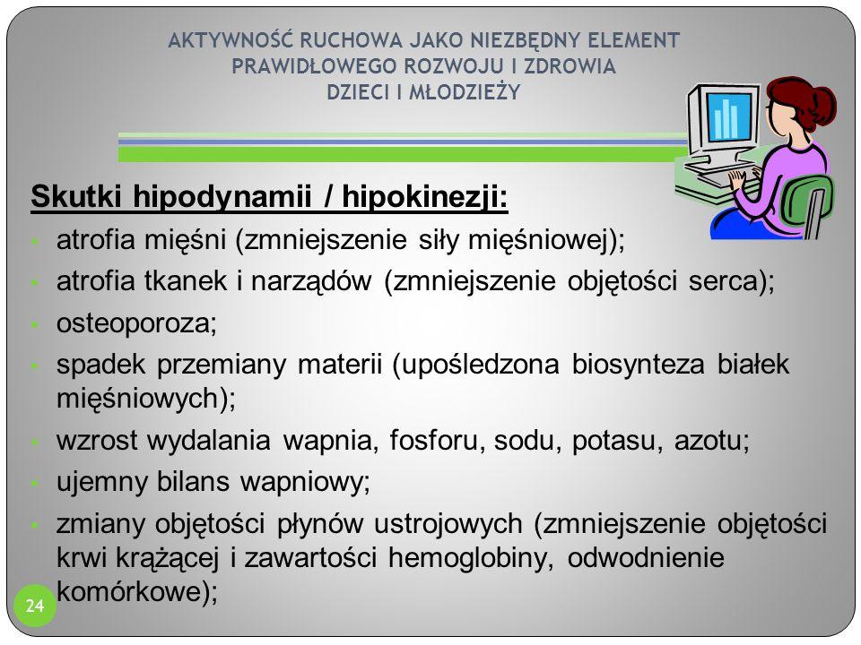 AKTYWNOŚĆ RUCHOWA JAKO NIEZBĘDNY ELEMENT PRAWIDŁOWEGO ROZWOJU I ZDROWIA DZIECI I MŁODZIEŻY Skutki hipodynamii / hipokinezji: atrofia mięśni (zmniejsze