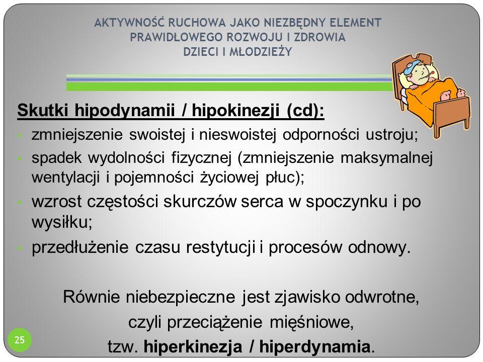 AKTYWNOŚĆ RUCHOWA JAKO NIEZBĘDNY ELEMENT PRAWIDŁOWEGO ROZWOJU I ZDROWIA DZIECI I MŁODZIEŻY Skutki hipodynamii / hipokinezji (cd): zmniejszenie swoiste