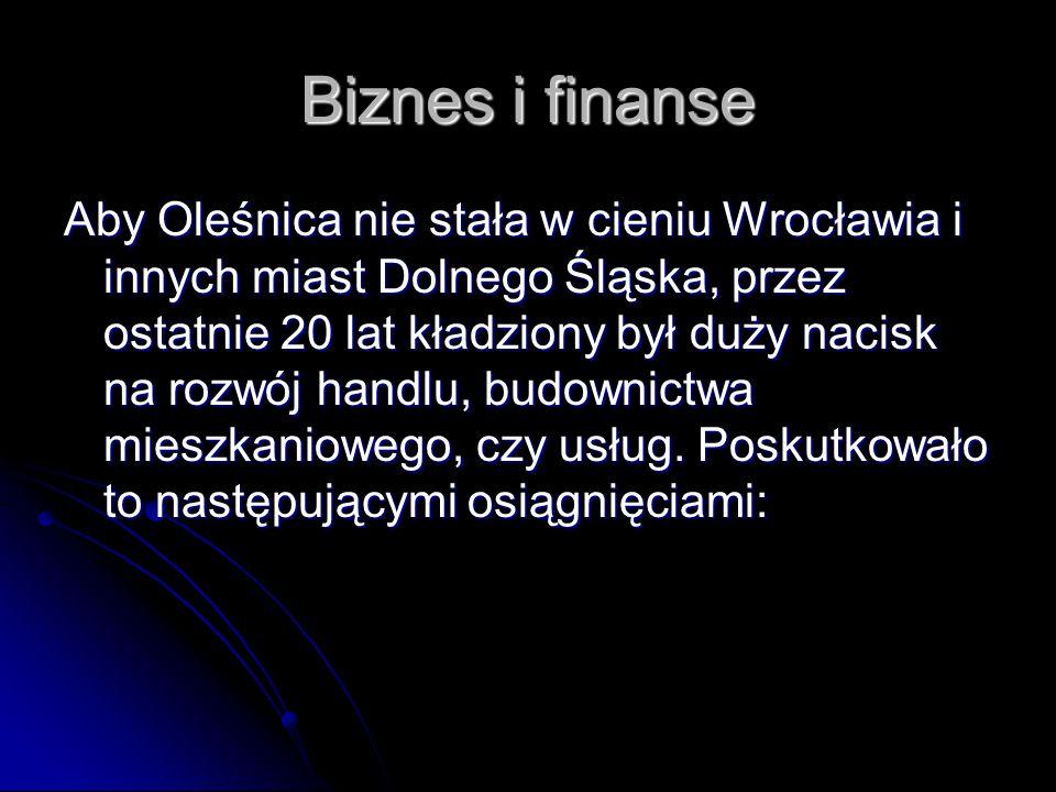 Biznes i finanse Aby Oleśnica nie stała w cieniu Wrocławia i innych miast Dolnego Śląska, przez ostatnie 20 lat kładziony był duży nacisk na rozwój handlu, budownictwa mieszkaniowego, czy usług.
