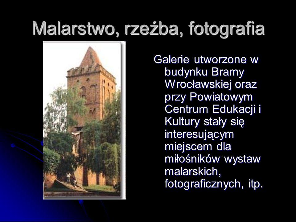 Malarstwo, rzeźba, fotografia Galerie utworzone w budynku Bramy Wrocławskiej oraz przy Powiatowym Centrum Edukacji i Kultury stały się interesującym miejscem dla miłośników wystaw malarskich, fotograficznych, itp.