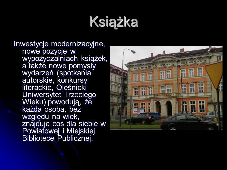 Książka Inwestycje modernizacyjne, nowe pozycje w wypożyczalniach książek, a także nowe pomysły wydarzeń (spotkania autorskie, konkursy literackie, Oleśnicki Uniwersytet Trzeciego Wieku) powodują, że każda osoba, bez względu na wiek, znajduje coś dla siebie w Powiatowej i Miejskiej Bibliotece Publicznej.
