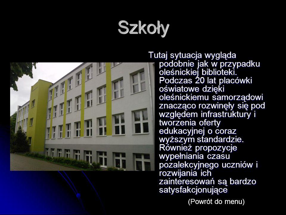 Szkoły Tutaj sytuacja wygląda podobnie jak w przypadku oleśnickiej biblioteki.