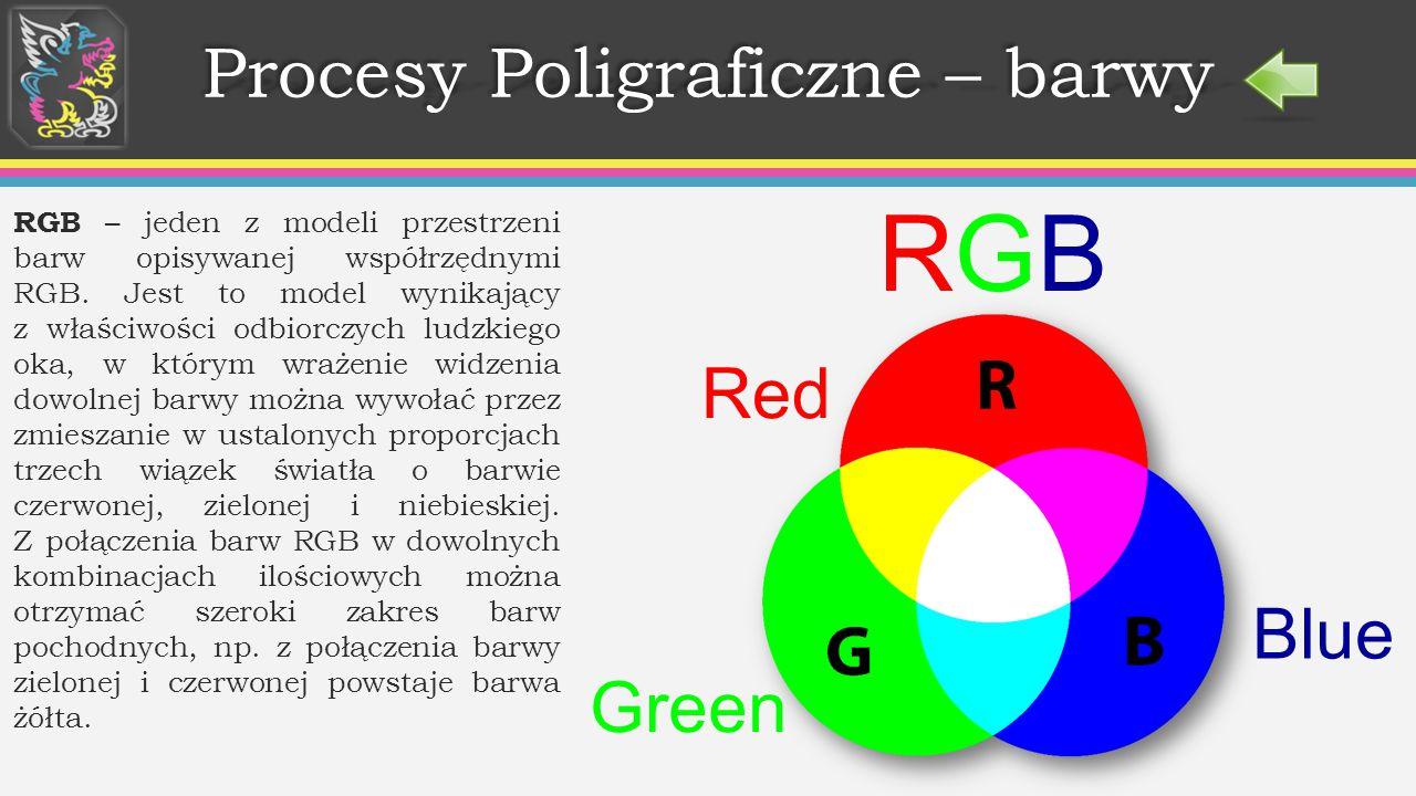 Procesy Poligraficzne – barwy RGB – jeden z modeli przestrzeni barw opisywanej współrzędnymi RGB.
