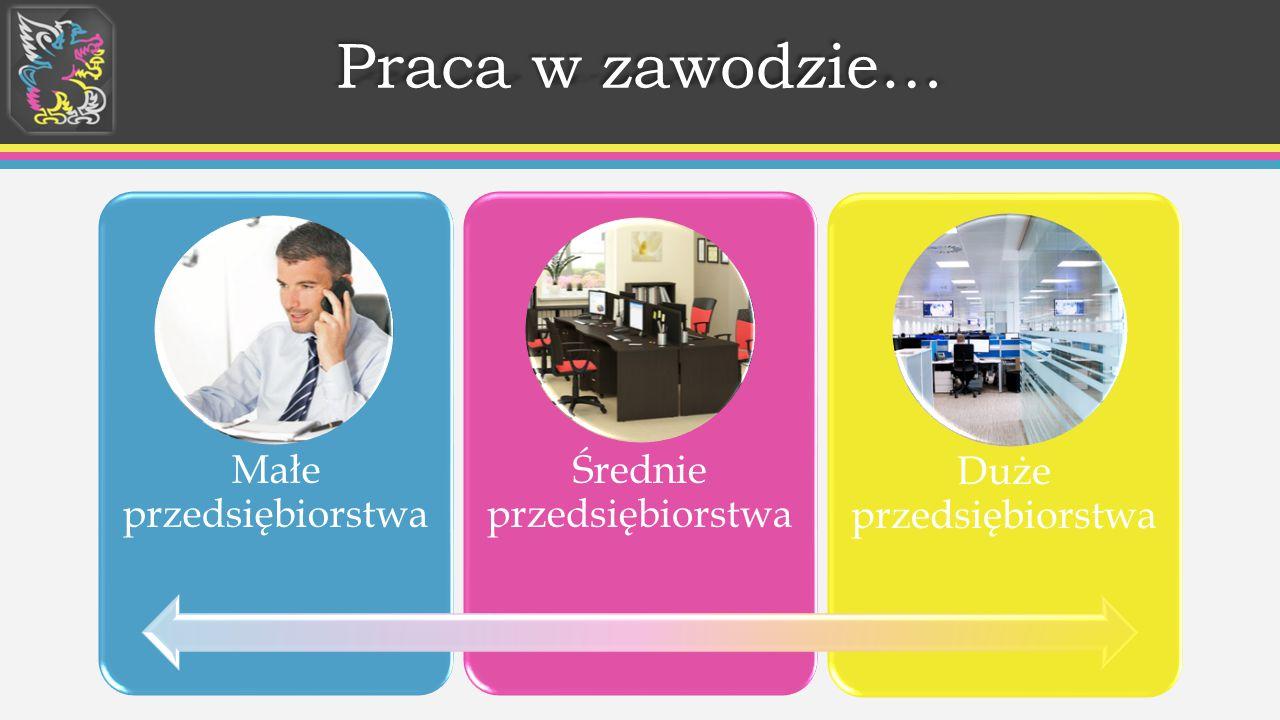 Praca w zawodzie… Małe przedsiębiorstwa Średnie przedsiębiorstwa Duże przedsiębiorstwa