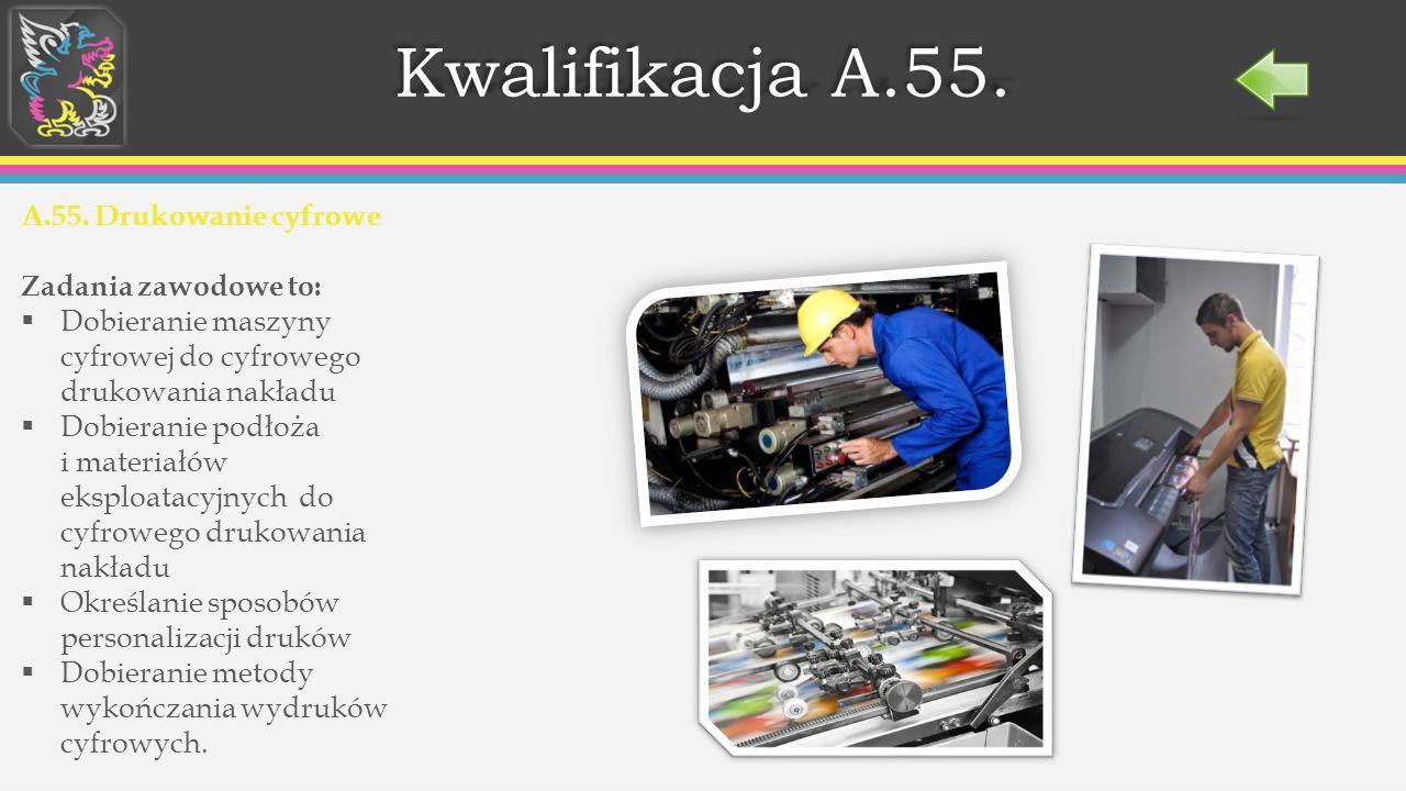 Przygotowywanie publikacji i prac graficznych do drukowania Obsługiwanie cyfrowych systemów produkcyjnych stosowanych w poligrafii Przygotowywanie prezentacji graficznych i multimedialnych Wykonywanie i wdrażanie internetowych projektów multimedialnych Prowadzenie procesów drukowania cyfrowego i wykończania Zadania zawodowe