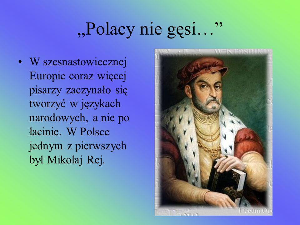 """""""Polacy nie gęsi…"""" W szesnastowiecznej Europie coraz więcej pisarzy zaczynało się tworzyć w językach narodowych, a nie po łacinie. W Polsce jednym z p"""