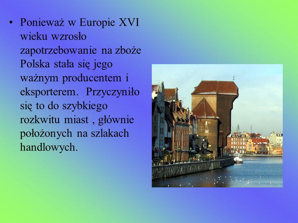Ponieważ w Europie XVI wieku wzrosło zapotrzebowanie na zboże Polska stała się jego ważnym producentem i eksporterem. Przyczyniło się to do szybkiego