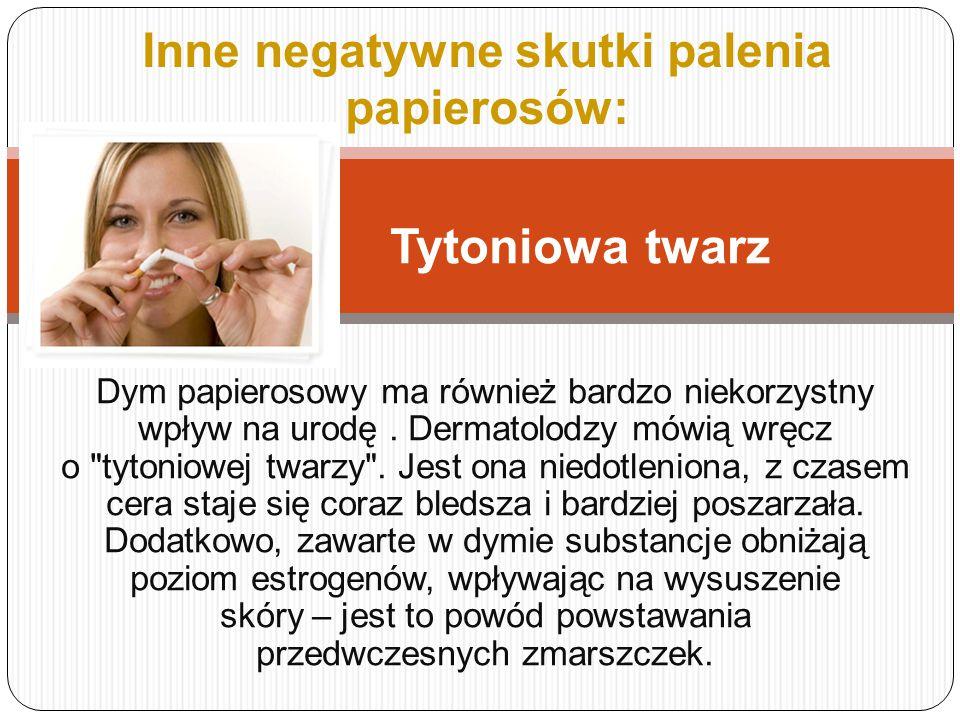 Co Grozi Palaczowi ??? Udary mózgu Rozedma płuc, Rak płuc Choroby serca, układu krwionośnego Nowotwory nerek Mniejsza potencja seksualna i płodność No