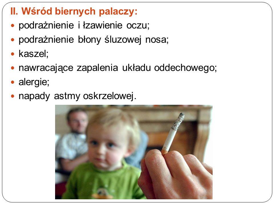 I. Wśród osób palących papierosy palenie powoduje: obniżenie odczuć smakowych, co może być spowodowane wzmożonym wydzielaniem śliny lub przewlekłym za