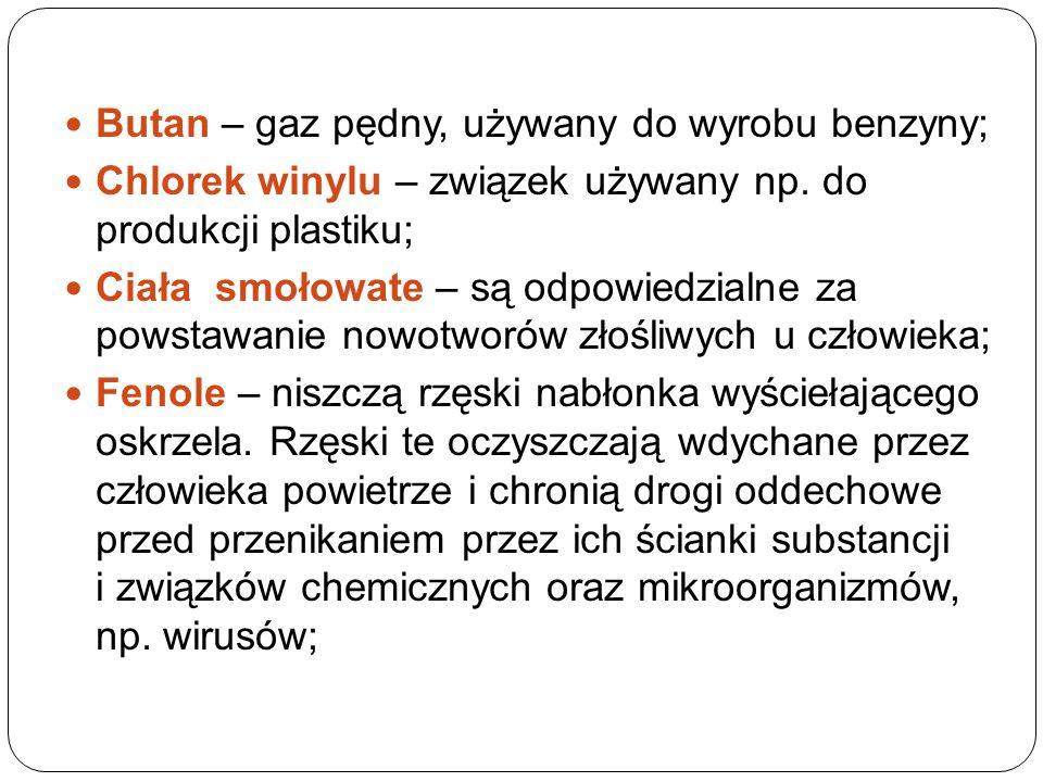 Składniki dymu tytoniowego: Aceton – rozpuszczalnik, składnik farb i lakierów; Amoniak – stosowany w chłodnictwie, składnik nawozów mineralnych; Arsen
