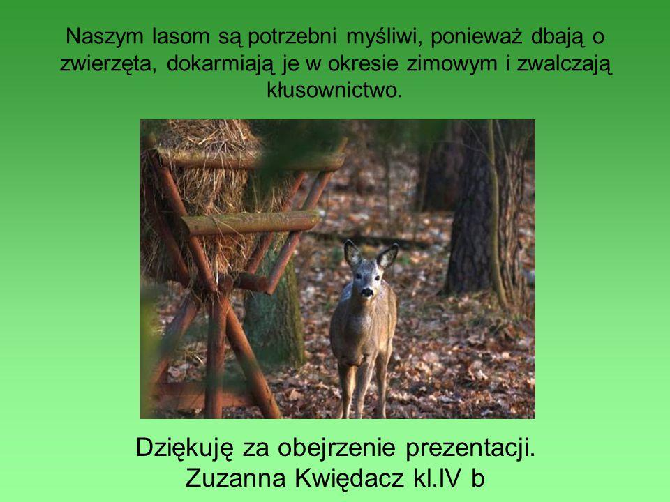 Naszym lasom są potrzebni myśliwi, ponieważ dbają o zwierzęta, dokarmiają je w okresie zimowym i zwalczają kłusownictwo. Dziękuję za obejrzenie prezen