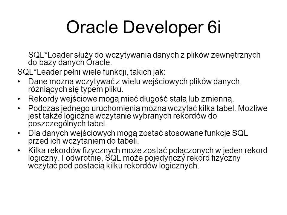 Oracle Developer 6i Tabele zewnętrzne to nowe udogodnienie, które sprawia, że na użytek wczytywania jednowymiarowe pliki wyglądają jakby były relacyjnymi tabelami.
