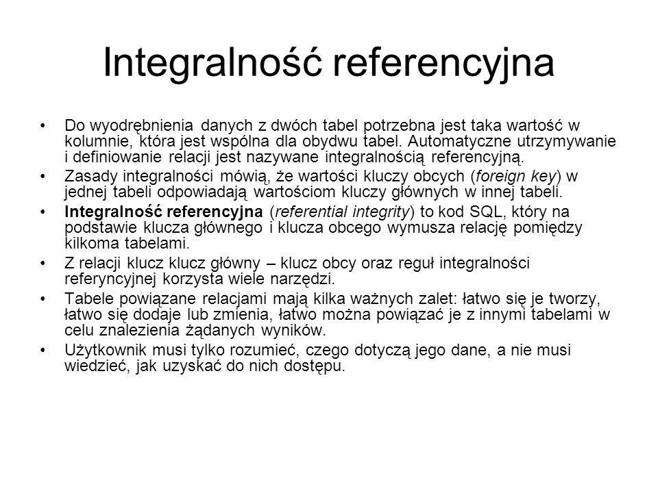 Integralność referencyjna Do wyodrębnienia danych z dwóch tabel potrzebna jest taka wartość w kolumnie, która jest wspólna dla obydwu tabel.