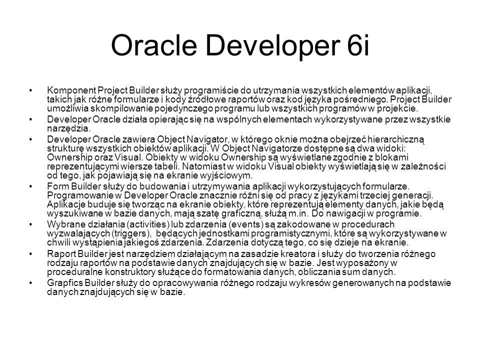 Oracle Developer 6i Komponent Project Builder służy programiście do utrzymania wszystkich elementów aplikacji, takich jak różne formularze i kody źródłowe raportów oraz kod języka pośredniego.