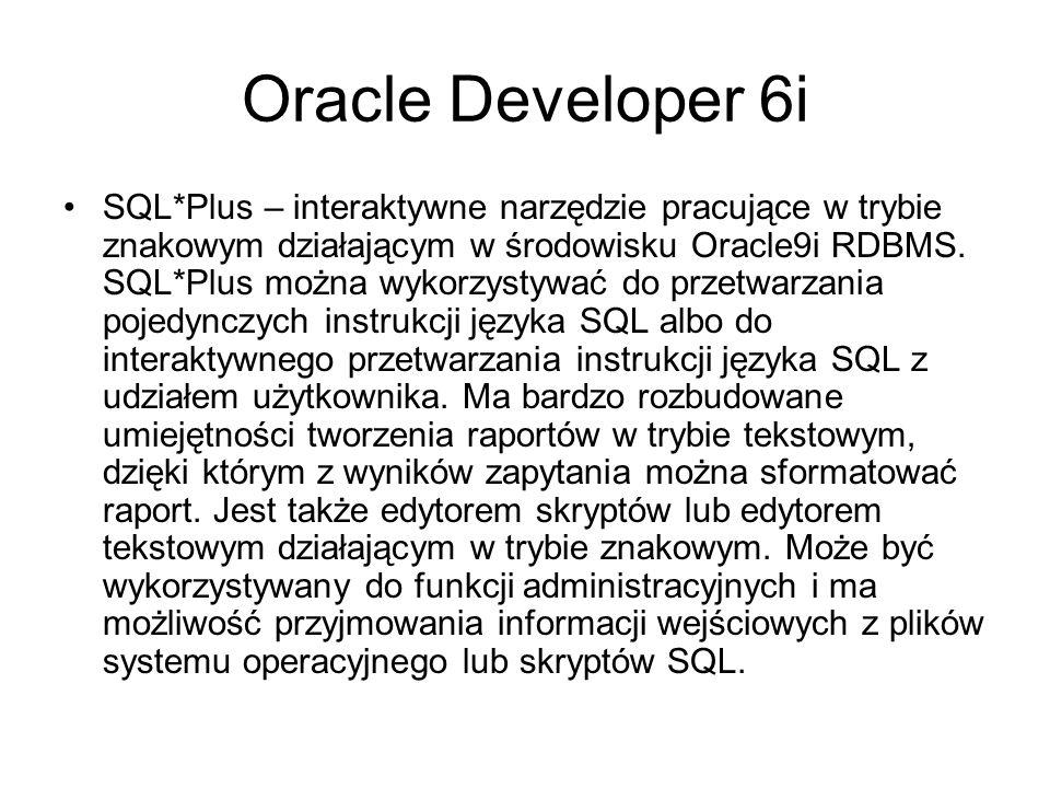 Oracle Developer 6i SQL*Loader służy do wczytywania danych z plików zewnętrznych do bazy danych Oracle.