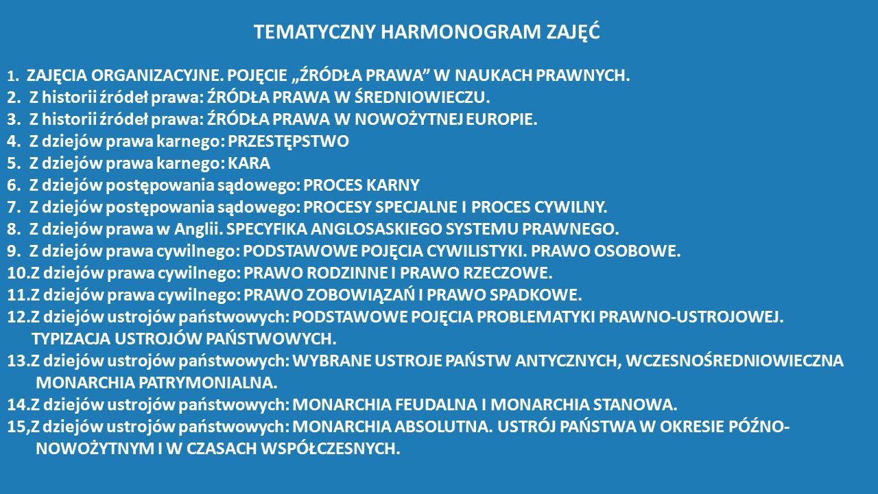 """TEMATYCZNY HARMONOGRAM ZAJĘĆ 1. ZAJĘCIA ORGANIZACYJNE. POJĘCIE """"ŹRÓDŁA PRAWA"""" W NAUKACH PRAWNYCH. 2. Z historii źródeł prawa: ŹRÓDŁA PRAWA W ŚREDNIOWI"""