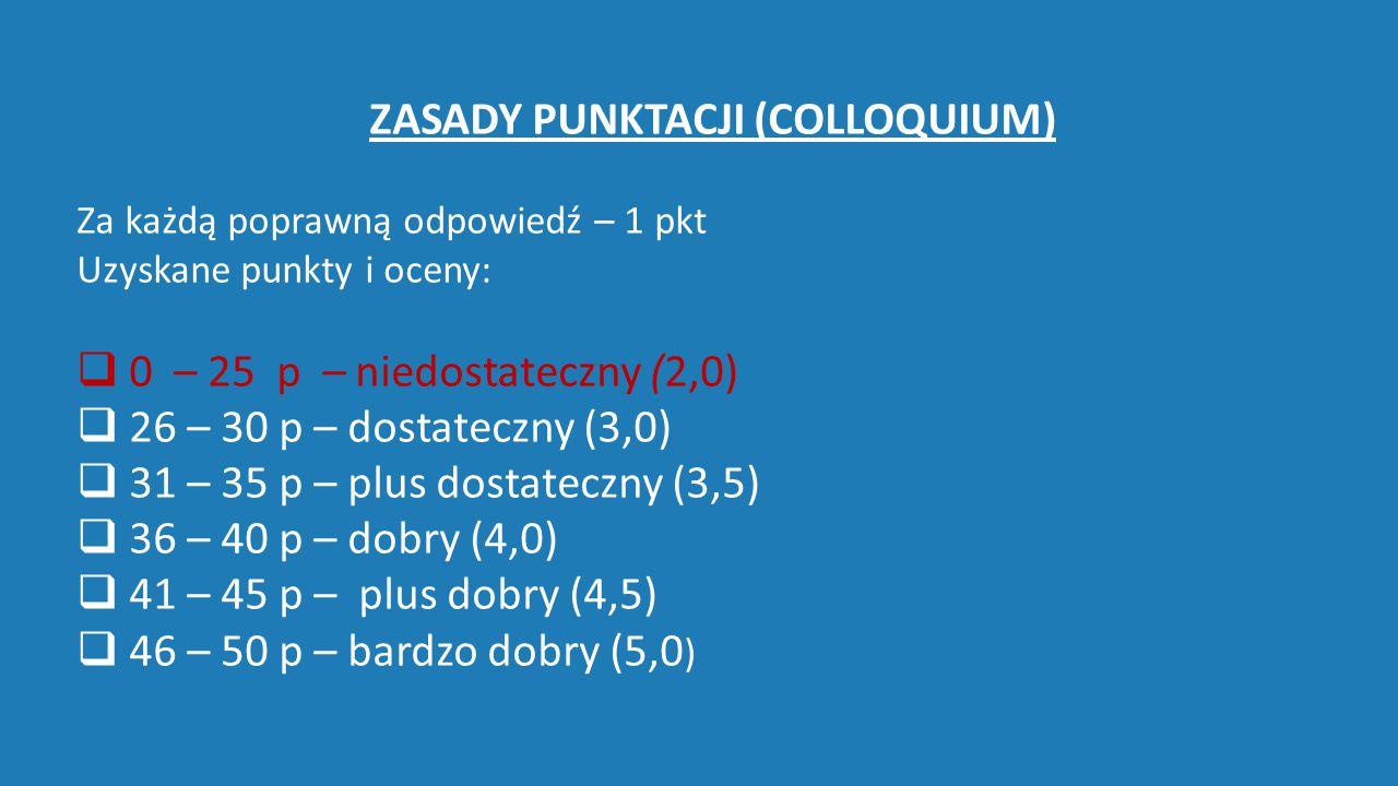 ZASADY PUNKTACJI (COLLOQUIUM) Za każdą poprawną odpowiedź – 1 pkt Uzyskane punkty i oceny:  0 – 25 p – niedostateczny (2,0)   26 – 30 p – dostatec
