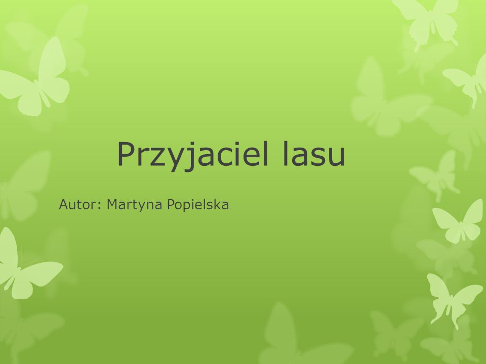 Przyjaciel lasu Autor: Martyna Popielska