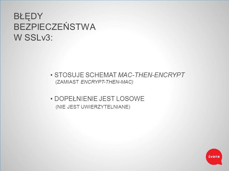BŁĘDY BEZPIECZEŃSTWA W SSLv3: STOSUJE SCHEMAT MAC-THEN-ENCRYPT (ZAMIAST ENCRYPT-THEN-MAC) DOPEŁNIENIE JEST LOSOWE (NIE JEST UWIERZYTELNIANE)