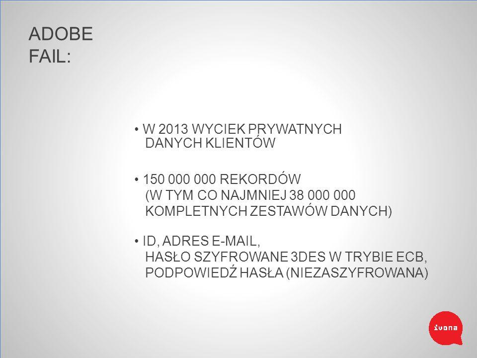 ADOBE FAIL: W 2013 WYCIEK PRYWATNYCH DANYCH KLIENTÓW 150 000 000 REKORDÓW (W TYM CO NAJMNIEJ 38 000 000 KOMPLETNYCH ZESTAWÓW DANYCH) ID, ADRES E-MAIL, HASŁO SZYFROWANE 3DES W TRYBIE ECB, PODPOWIEDŹ HASŁA (NIEZASZYFROWANA)