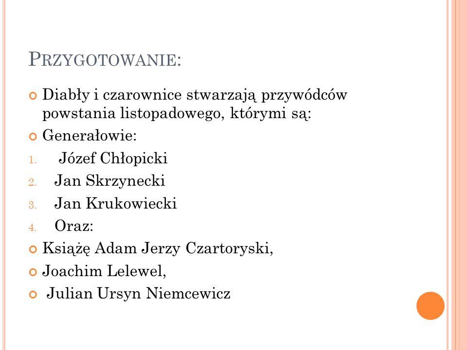 P RZYGOTOWANIE : Diabły i czarownice stwarzają przywódców powstania listopadowego, którymi są: Generałowie: 1.
