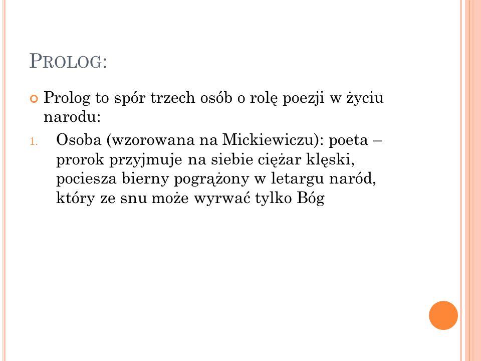 P ROLOG : Prolog to spór trzech osób o rolę poezji w życiu narodu: 1.