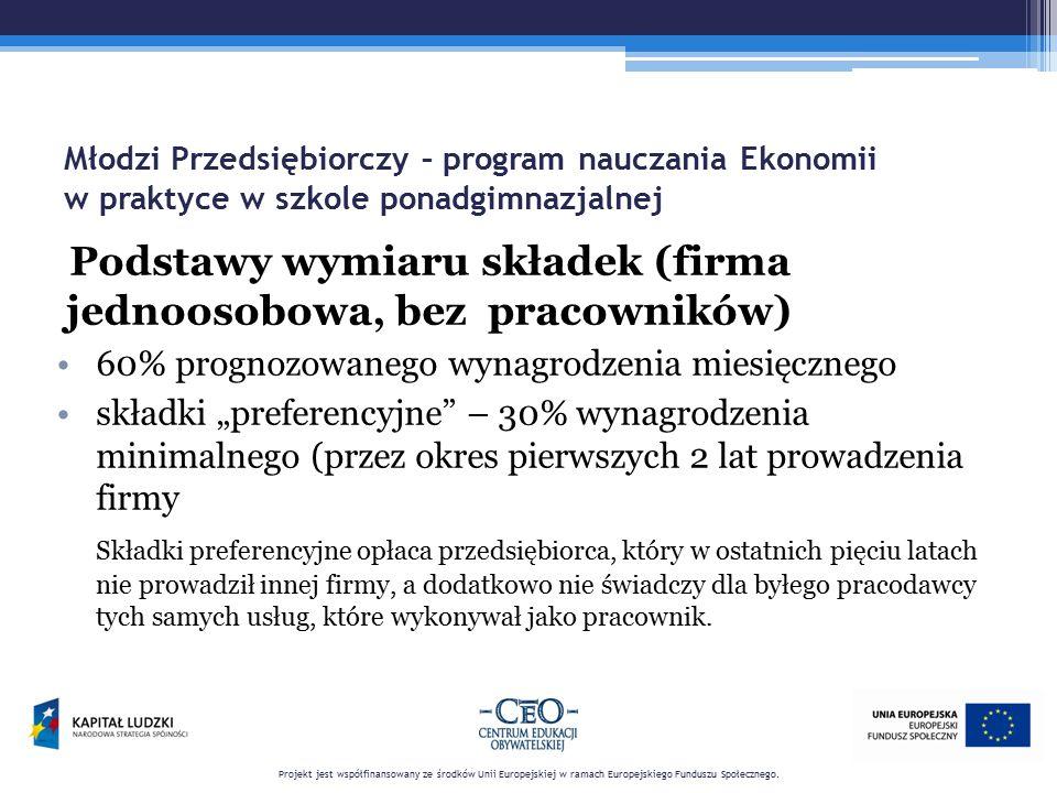 Młodzi Przedsiębiorczy – program nauczania Ekonomii w praktyce w szkole ponadgimnazjalnej Podstawy wymiaru składek (firma jednoosobowa, bez pracownikó