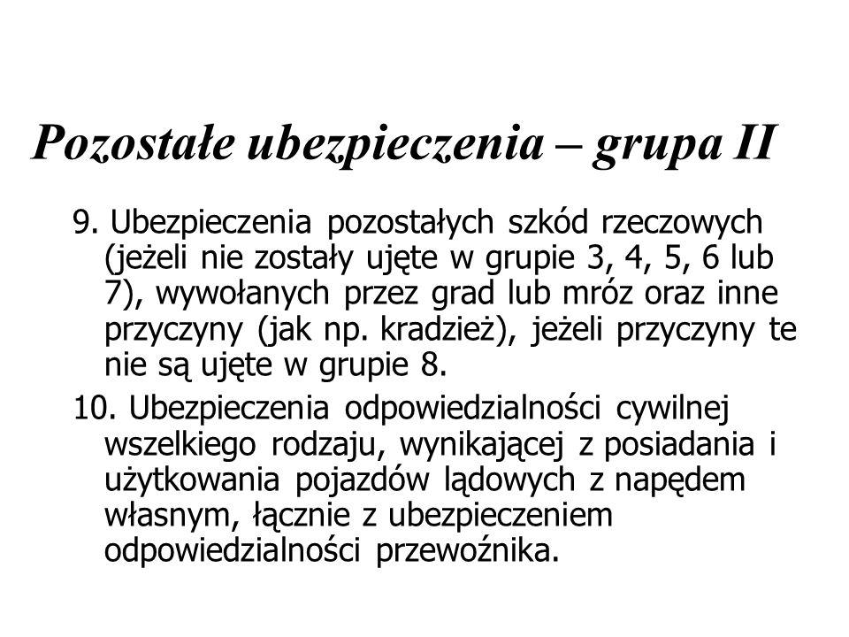 Pozostałe ubezpieczenia – grupa II 9. Ubezpieczenia pozostałych szkód rzeczowych (jeżeli nie zostały ujęte w grupie 3, 4, 5, 6 lub 7), wywołanych prze