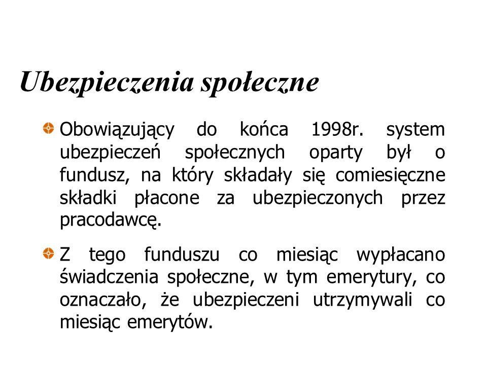 Obowiązujący do końca 1998r. system ubezpieczeń społecznych oparty był o fundusz, na który składały się comiesięczne składki płacone za ubezpieczonych
