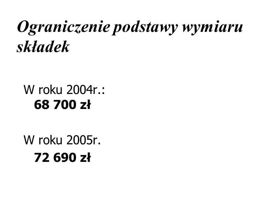 Ograniczenie podstawy wymiaru składek W roku 2004r.: 68 700 zł W roku 2005r. 72 690 zł