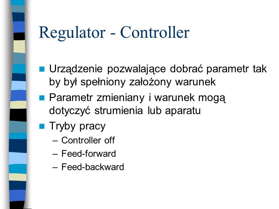 Regulator - Controller Urządzenie pozwalające dobrać parametr tak by był spełniony założony warunek Parametr zmieniany i warunek mogą dotyczyć strumienia lub aparatu Tryby pracy –Controller off –Feed-forward –Feed-backward