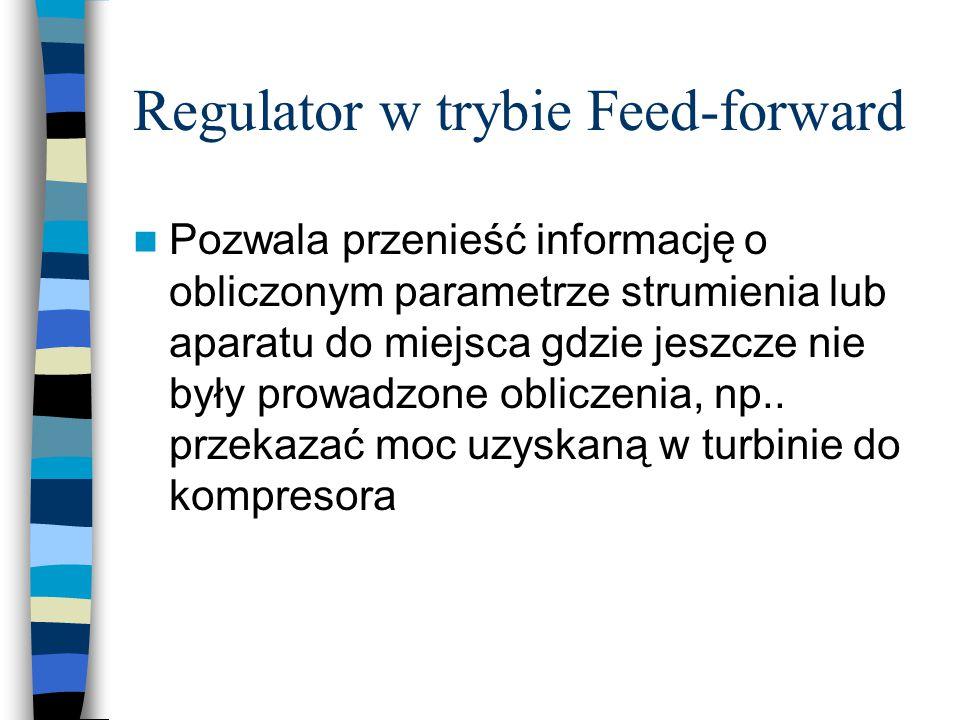 Regulator w trybie Feed-forward Pozwala przenieść informację o obliczonym parametrze strumienia lub aparatu do miejsca gdzie jeszcze nie były prowadzo