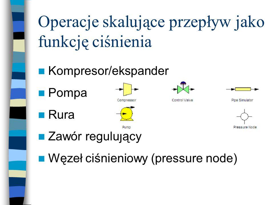Operacje skalujące przepływ jako funkcję ciśnienia Kompresor/ekspander Pompa Rura Zawór regulujący Węzeł ciśnieniowy (pressure node)