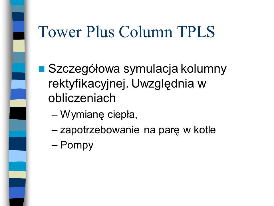 Tower Plus Column TPLS Szczegółowa symulacja kolumny rektyfikacyjnej. Uwzględnia w obliczeniach –Wymianę ciepła, –zapotrzebowanie na parę w kotle –Pom