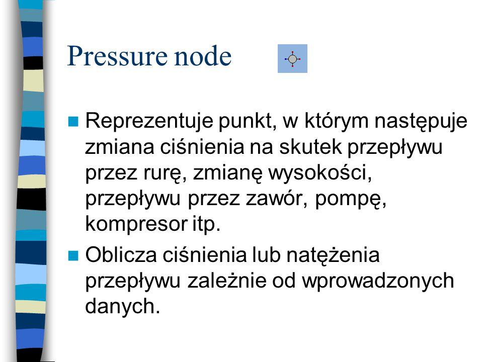 Pressure node Reprezentuje punkt, w którym następuje zmiana ciśnienia na skutek przepływu przez rurę, zmianę wysokości, przepływu przez zawór, pompę, kompresor itp.