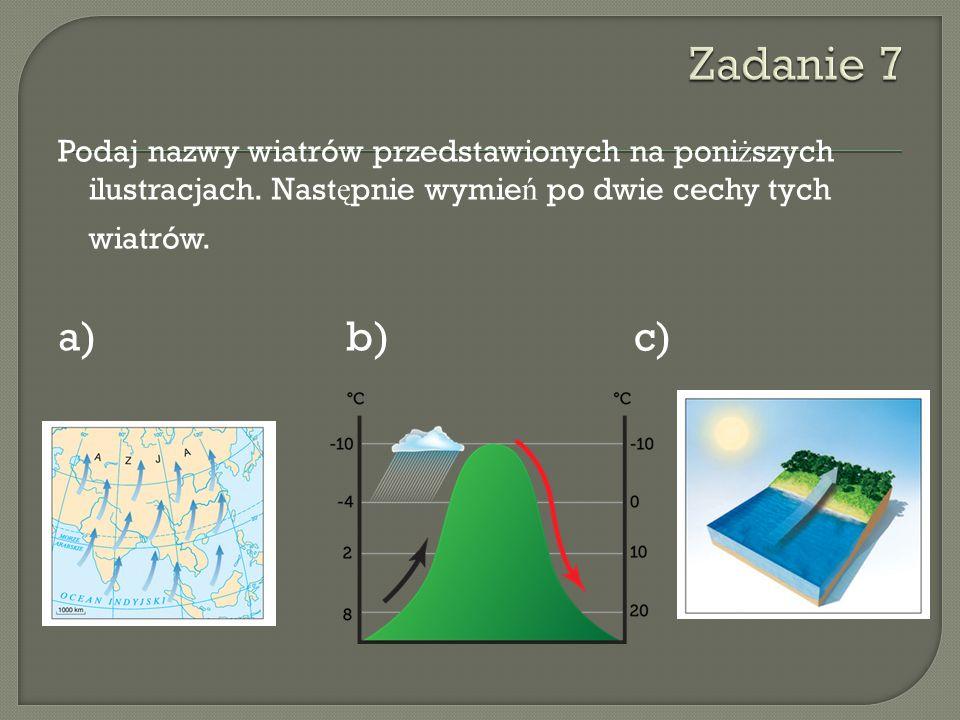 Podaj nazwy wiatrów przedstawionych na poni ż szych ilustracjach. Nast ę pnie wymie ń po dwie cechy tych wiatrów. a)b) c)