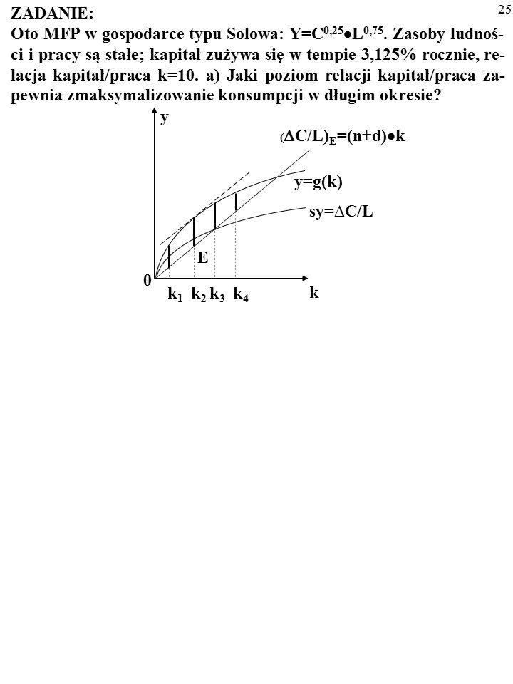 24 ZADANIE: Oto MFP w gospodarce typu Solowa: Y=C 0,25  L 0,75. Zasoby ludnoś- ci i pracy są stałe; kapitał zużywa się w tempie 3,125% rocznie, re- l