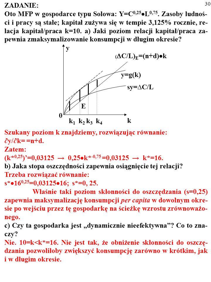 29 ZADANIE: Oto MFP w gospodarce typu Solowa: Y=C 0,25  L 0,75. Zasoby ludnoś- ci i pracy są stałe; kapitał zużywa się w tempie 3,125% rocznie, re- l