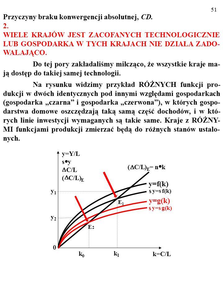 50 Przyczyny braku konwergencji absolutnej: 1. Małe oszczędnosci i inwestycje? TO JEST MAŁO PRAWDOPO- DOBNE… Robert E. Lucas (junior) wyliczył, że jeś