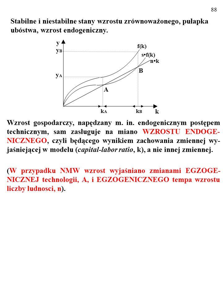 87 Kiedy zaś k przekracza poziom k B, rozpoczyna się coraz szybszy wzrost gospodarczy, napędzany m. in. endogenicznym postępem technicznym... Stabilne
