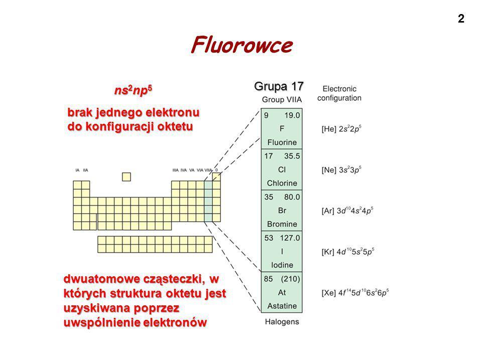 13 Związki fluorowców z tlenem Fluor OF 2 (-1) O 2 F 2 (-1) Chlor Cl 2 O (+1), Cl 2 O 3 (+3) ClO 2 (+4), Cl 2 O 4 (+4) Cl 2 O 6 (+6), Cl 2 O 7 (+7) Brom Br 2 O (+1) BrO 2 (+4) Jod I 2 O 4 (+4) I 2 O 5 (+5) I 2 O 7 (+7) Uwaga: OF 2 i O 2 F 2 to nie są tlenki lecz fluorki !