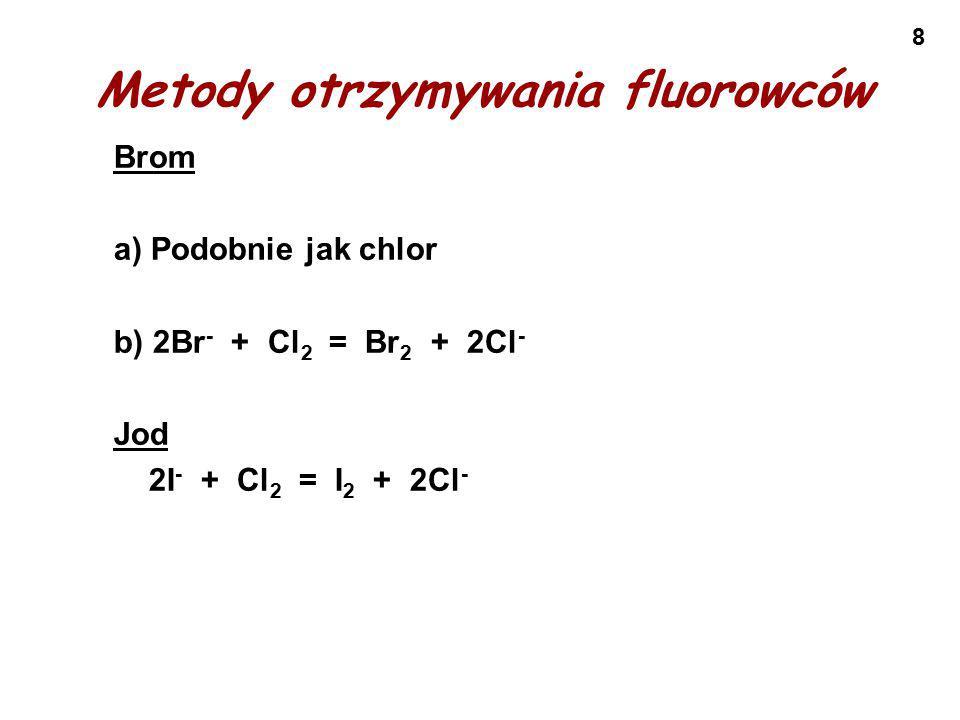 29 Wszystkie fluorowce reagują z wodnymi r-rami wodorotlenków alkalicznych i ulegają dysproporcjonowaniu.
