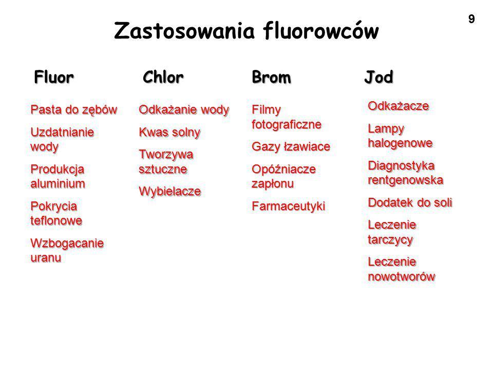 30 Wszystkie fluorowce reagują z wodnymi r-rami wodorotlenków alkalicznych i ulegają dysproporcjonowaniu.