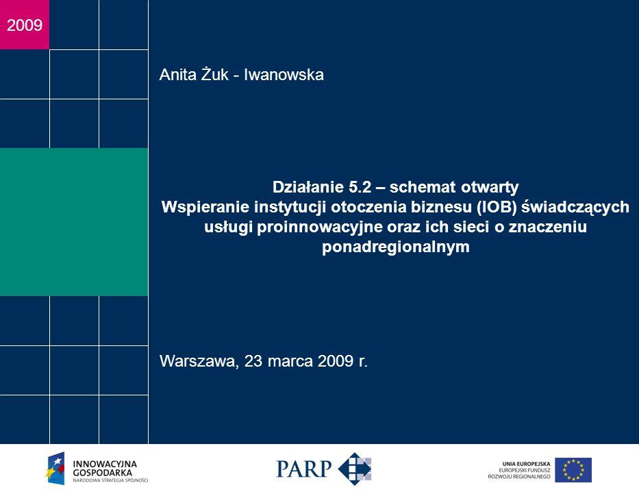 2009 Działanie 5.2 – schemat otwarty Wspieranie instytucji otoczenia biznesu (IOB) świadczących usługi proinnowacyjne oraz ich sieci o znaczeniu ponadregionalnym Anita Żuk - Iwanowska Warszawa, 23 marca 2009 r.
