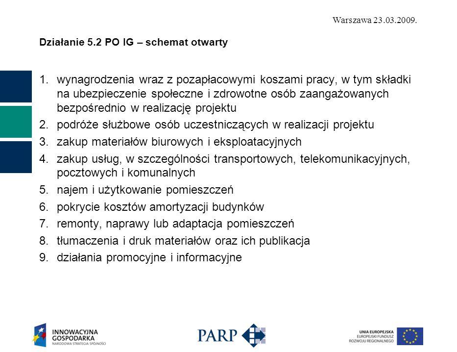 Warszawa 23.03.2009. Działanie 5.2 PO IG – schemat otwarty 1.wynagrodzenia wraz z pozapłacowymi koszami pracy, w tym składki na ubezpieczenie społeczn