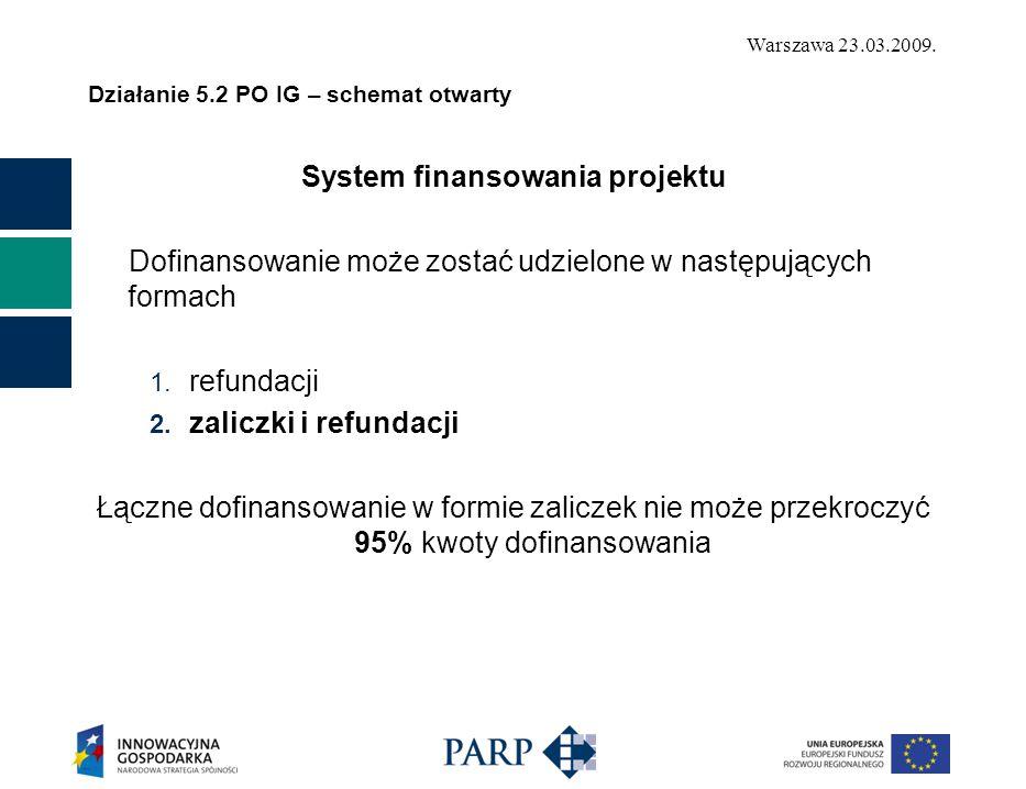 Warszawa 23.03.2009. Działanie 5.2 PO IG – schemat otwarty System finansowania projektu Dofinansowanie może zostać udzielone w następujących formach 1