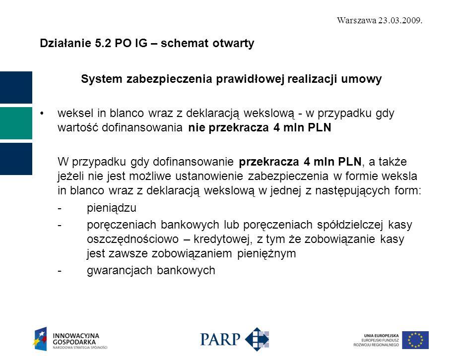 Warszawa 23.03.2009. Działanie 5.2 PO IG – schemat otwarty System zabezpieczenia prawidłowej realizacji umowy weksel in blanco wraz z deklaracją weksl