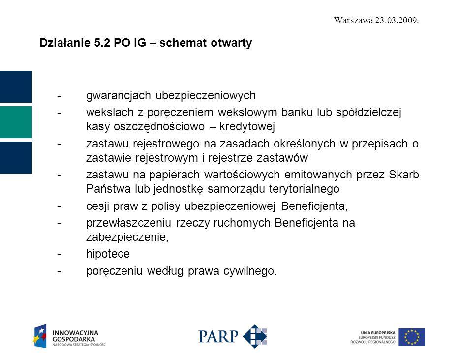 Warszawa 23.03.2009. Działanie 5.2 PO IG – schemat otwarty -gwarancjach ubezpieczeniowych -wekslach z poręczeniem wekslowym banku lub spółdzielczej ka