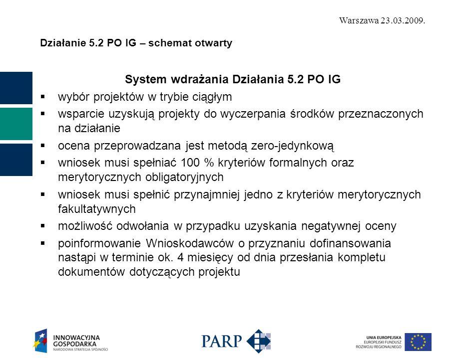 Warszawa 23.03.2009. Działanie 5.2 PO IG – schemat otwarty System wdrażania Działania 5.2 PO IG  wybór projektów w trybie ciągłym  wsparcie uzyskują