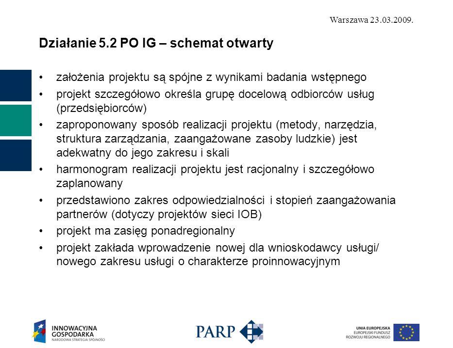 Warszawa 23.03.2009. Działanie 5.2 PO IG – schemat otwarty założenia projektu są spójne z wynikami badania wstępnego projekt szczegółowo określa grupę